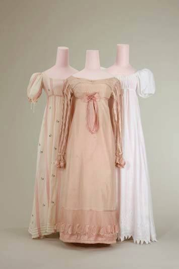 Three very pretty dresses. Dress (left), 1810 Dress (center), 1815 Dress (right), 1805/1810 Münchner Stadtmuseum