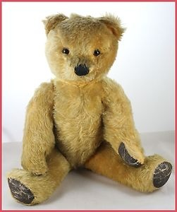 """Vintage/Antique 40/50s Chad Valley Musical Golden Mohair Old Teddy Bear 20"""" Tall"""