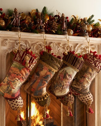 Horchow vintage americana christmas stockings for Stores like horchow