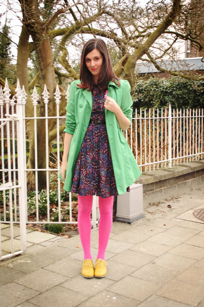 pink tights ...(and that JACKET!!!!!)