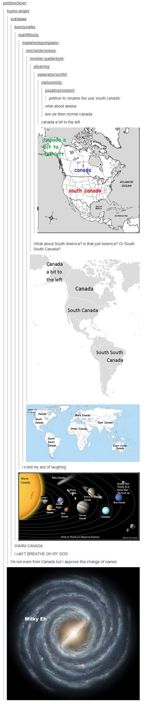 tumblr canada universe<-- I think I pinned this before, but, it got better Milk Eh. I love being Canadian.