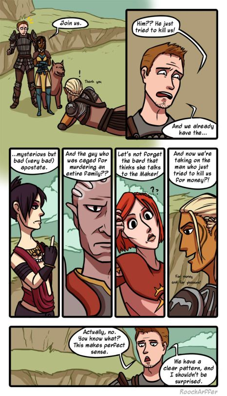 Arffer Arts // Recruiting Zevran is SOOO much fun!! I love Alistair's reaction lol. I always carry them with me so they can argue over me.