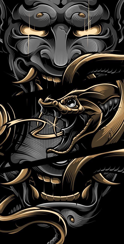 BLACKOUT BROTHER HANNYA Samurai artwork, Japanese