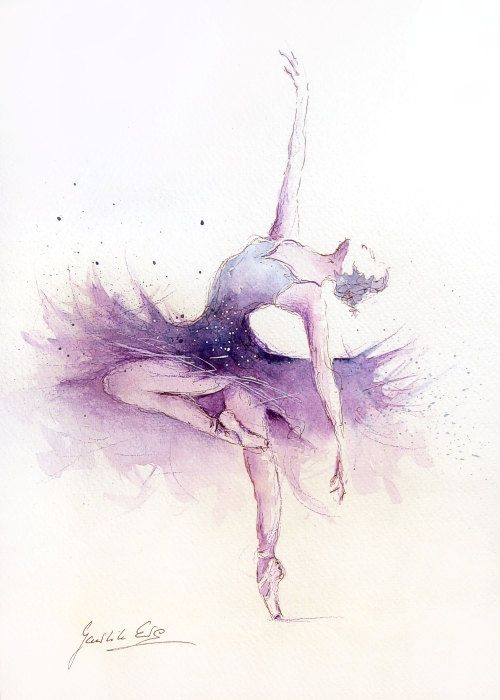 Original Watercolor Art Painting of BALLERINA by Ewa Gawlik