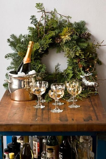 Wreath at the Champagne Bar - a cozy, festive holiday bar set-up.