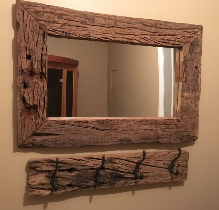 """36""""W Rustic Wooden Mirror and Hooks"""
