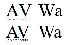 Crenatura: l'incremento o la riduzione dello spazio tra specifiche coppie di caratteri. - Metrica: per usare la crenatura predefinita di un font. - Ottica: per regolare automaticamente la spaziatura tra i caratteri selezionati in base alla loro forma.