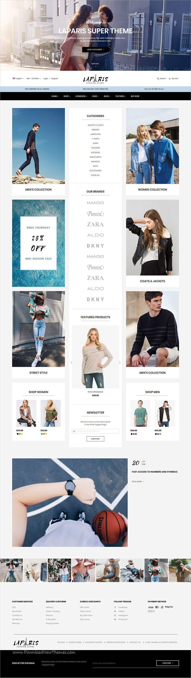 LaParis is clean, stylish and modern design responsive #Magento theme for fashion store stunning #eCommerce website with 10+ niche homepage layouts download now..