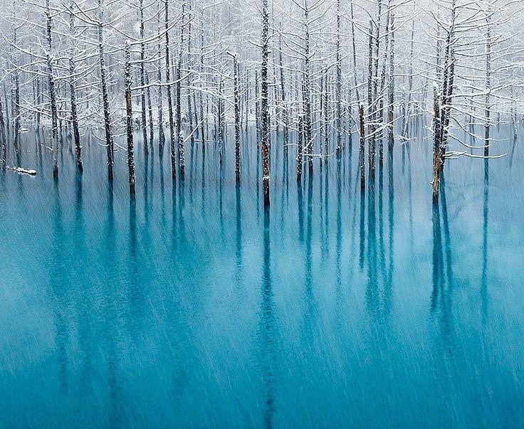 Biei,Hokkaido,Japan blue pond