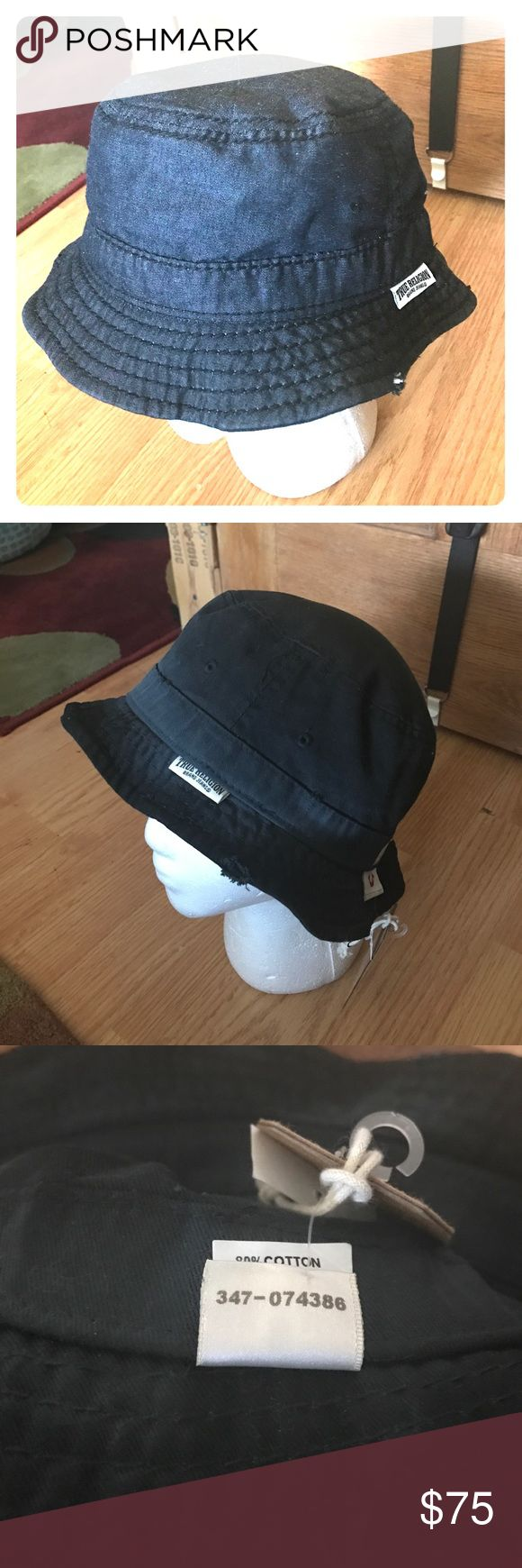 True Religion Denim Bucket Cap Reversible demon on one side black on the other. Distressed look small medium size True Religion Accessories Hats