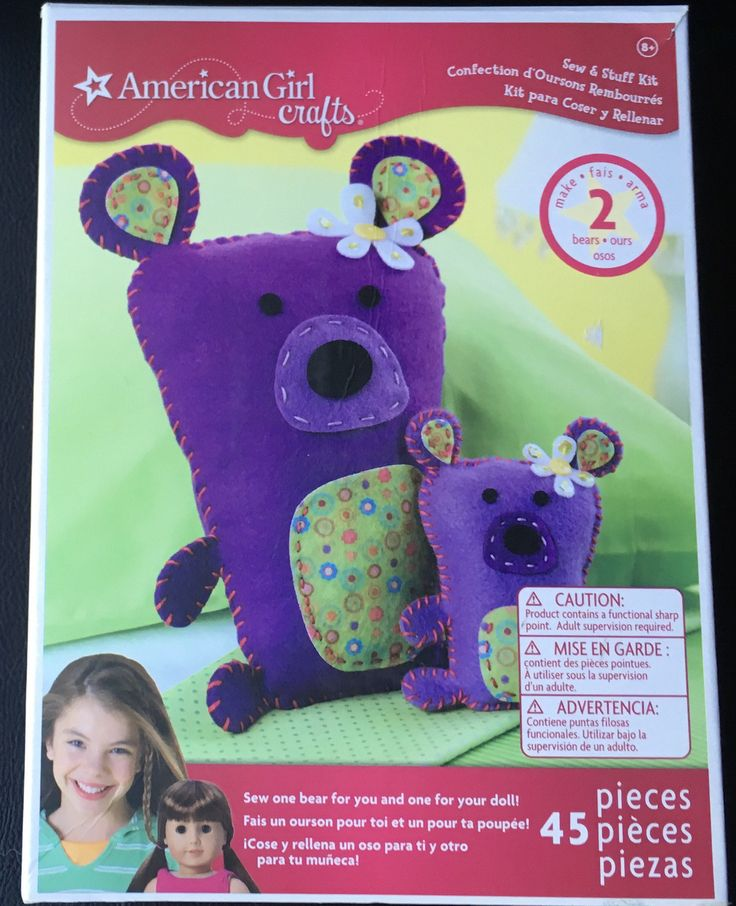 American Girl Craft Kit Sew & Stuff Purple Teddy Bear Felt Make 2 Bears Bear For You And Doll 45 Pieces Kids Girl Craft DIY by Fraservalleyjewels on Etsy