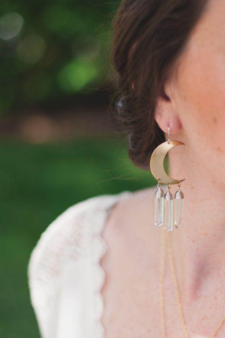 Crescent Moon Quartz Earrings  Bohemian Gemstone Jewelry The Type Of