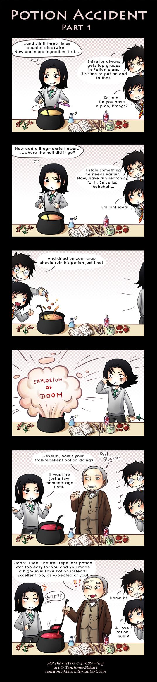 HP - Severus Snape, James Potter and Sirius Black. Chini - Potion accident -part 1- by Tenshi-no-Hikari