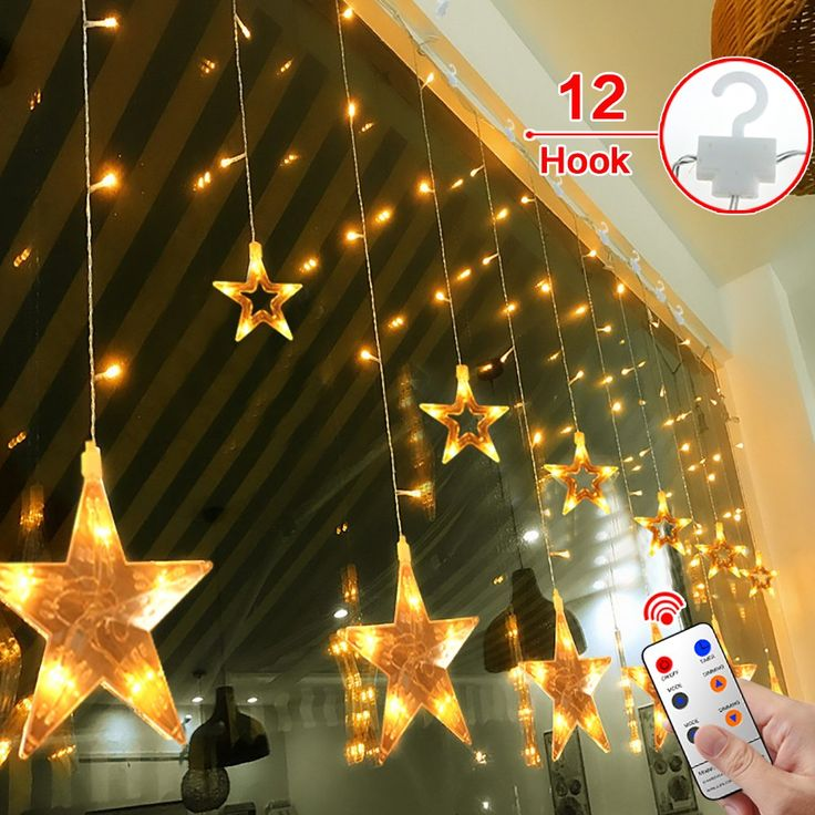 Star Curtain Lights,MaLivent 12 Stars 108pcs LED Waterproof Linkable Curtain String Lights 8 Modes with Remote Window Fariy Light Indoor Outdoor Decorative for Christmas Party Wedding Home(Warm white)