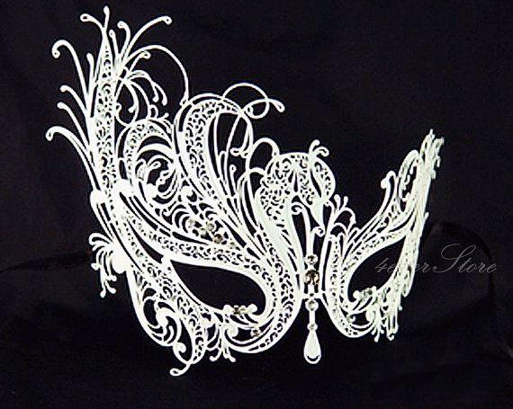White Swan Masquerade Mask - Snow White Handcrafted Masquerade Mask - Halloween Costume, Masquerade Ball, Little Black Dress Attire