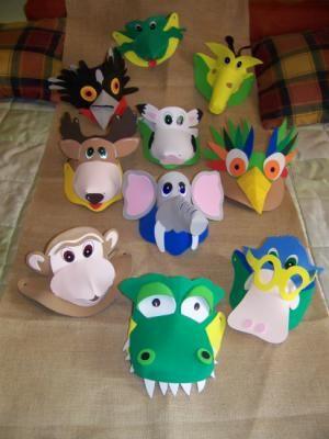 cómo hacer viseras de animales realizando manualidades para niños
