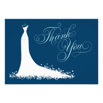"Elegant bridal shower or wedding ""Thank You"" note cards for the stylish bride-to-be features an ornate calligraphy script font and flowing wedding gown. Scroll flourish, flower and butterfly details accent the ethereal dress. Modern flat card format includes space on the back for a handwritten message. Design colors include white, aqua / pool, and navy blue. Additional color scheme and design options are available at The Plush Paper Design Shop. #wedding #bride #gown #dress #shower #flowers…"