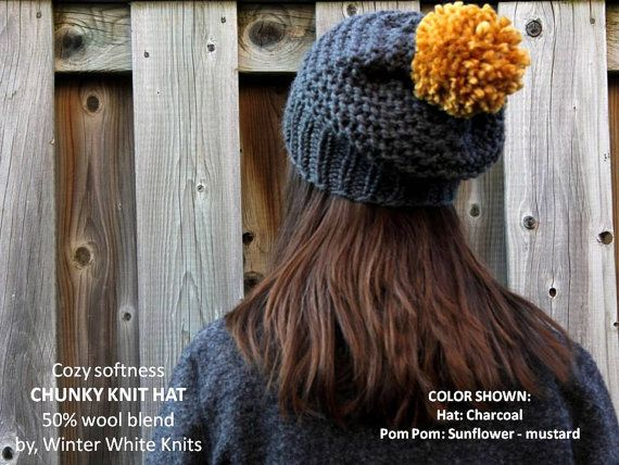 THE COZY WOODS HAT Handmade, especially for you upon your order, in your choice of 16 colors :) Wrapped beautifully in tissue, and shipped to you. Perfect for gift giving, or a treat for yourself :) CHOOSE YOUR HAT COLOR AND YOUR POM POM COLOR: Colors shown: Each image/picture has