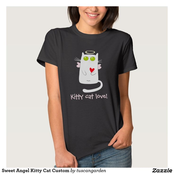 "Sweet Angel Kitty Cat Custom T Shirt A sweet custom t-shirt with a template area for your name on the back. An angelic kitty cat with a heart and a halo and the phrase ""Kitty Cat Love!"" makes a purrfect gift for any cat lover."