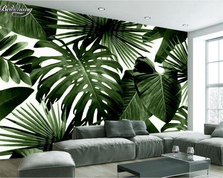 Beibehang Modern custom 3D wallpaper tropical rain forest palm banana leaf 3D li