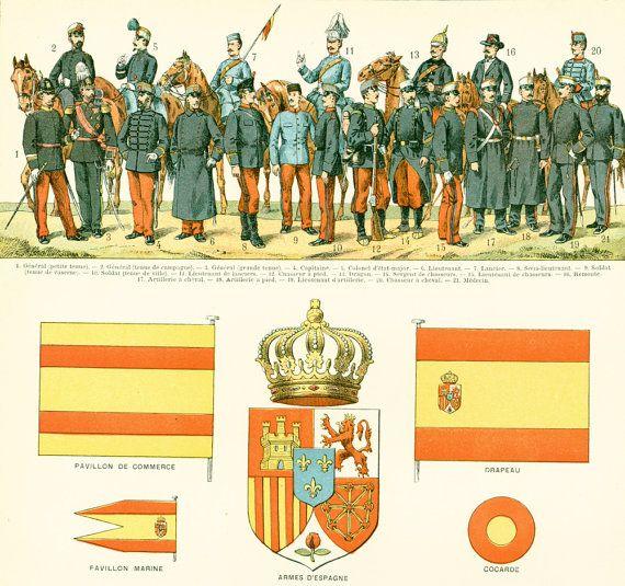 1897 Drapeau Espagne Armée Uniforme militaire Pavillon Marine Planche Originale  Nouveau Larousse illustré Grand Format 115 ans d'âge