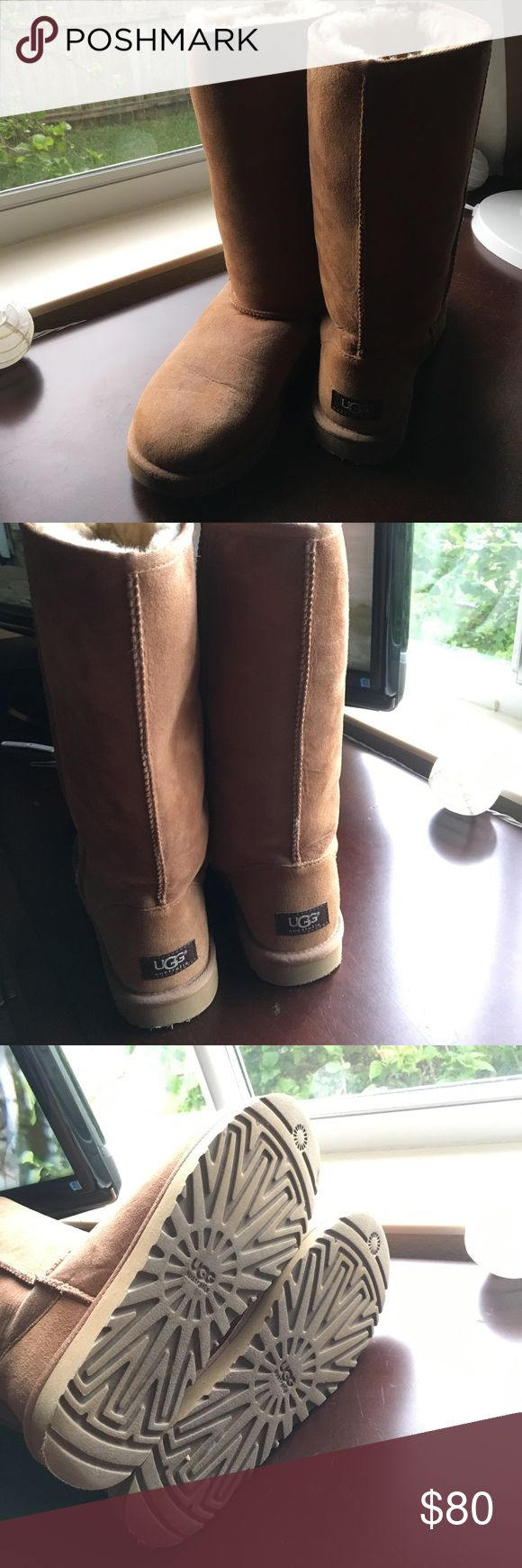 UGG classic tall chestnut boots w protectant spray Excellent condition. Comes with protectant spray! UGG Shoes Winter & Rain Boots