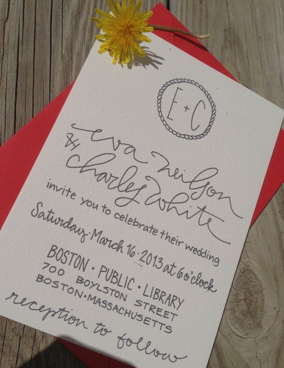 Preppy Modern Wedding Invitations Calligraphy