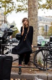 On the Street…. Halle Freyssinet, Paris « The Sartorialist: Sock, Fashion, Street Style, Dress, Street Black, Black Outfit, Street Styles, Hair