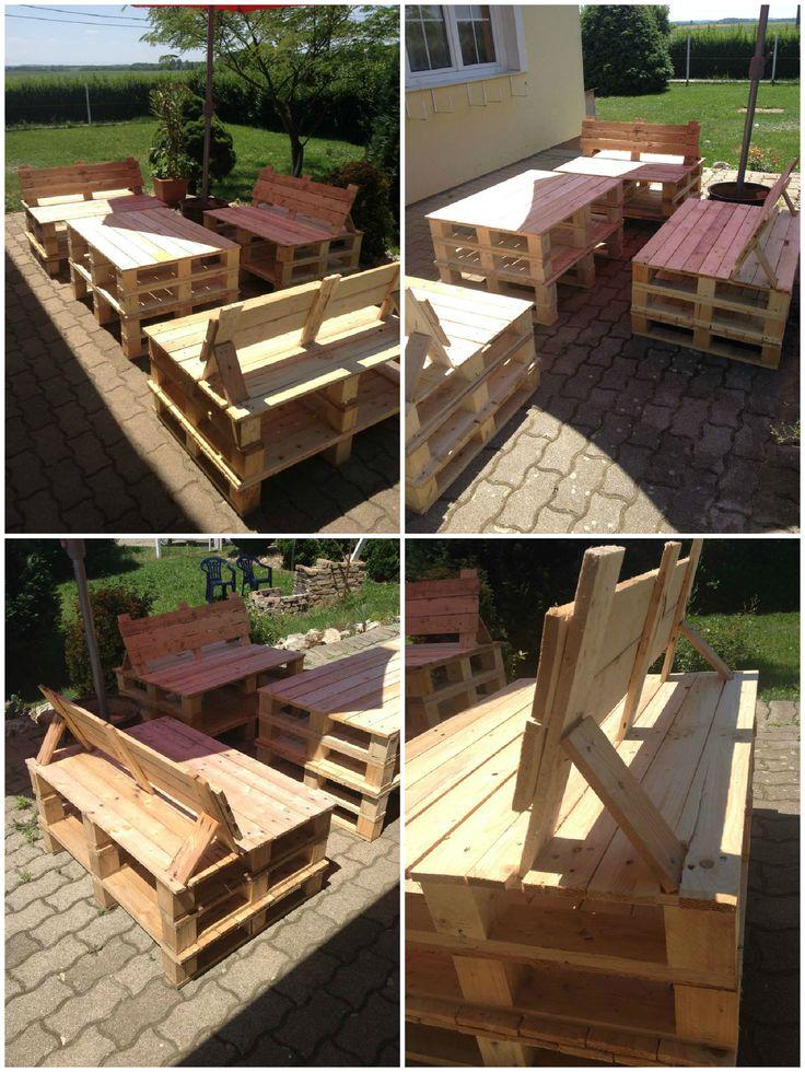 Coffeetable garden palletfurniture palletterrace for Recycled garden furniture ideas