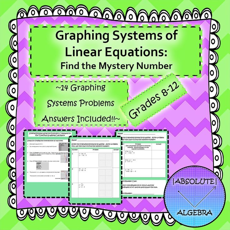 Graphing Systems of Linear Equations:  Find the Mystery Number  Calculator Instructions are included with this fun activity!  Includes:  14 problems involving solving systems by graphing with decimals, fractions, word problems, and special cases.   Graphing calculator instructions including finding the intersection of a system and changing the window to see the intersection.  A five-page worksheet with graphs and space for student work OR two-page worksheet for students to show work on their…