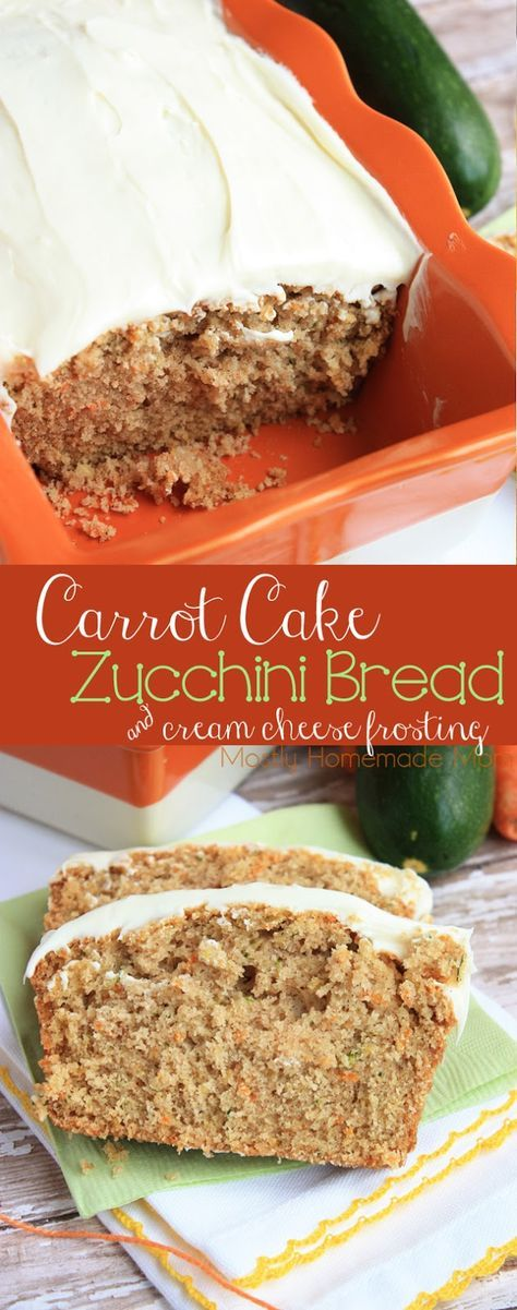 Carrot Cake Zucchini Bread - This delicious bread combines moist carrot cake with spiced zucchini bread and topped with a homemade cream cheese icing. You'll get two breads from this recipe - give one to a friend!