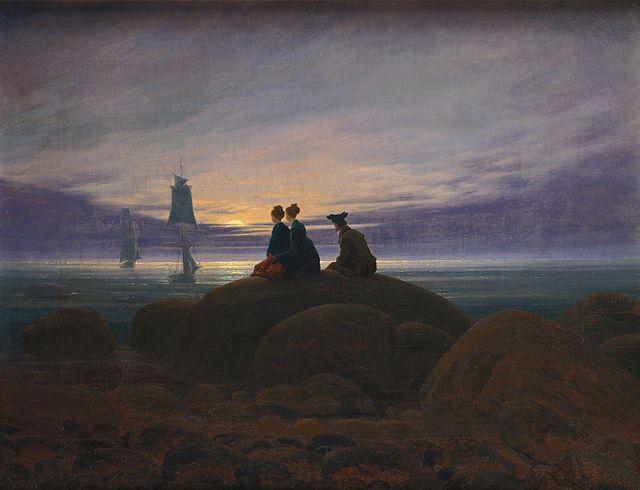 Caspar David Friedrich, MONDAUFGANG AM MEER, 1822, colore ad olio, 55.0 × 71.0 cm, Alte Nationalgalerie Berlin