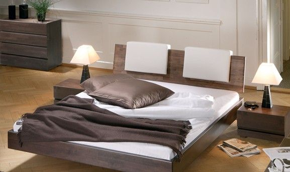 Solid Beech Chocolate Lacquered, Real Leather White Headrests Solid Wooden Bed, other finishes available