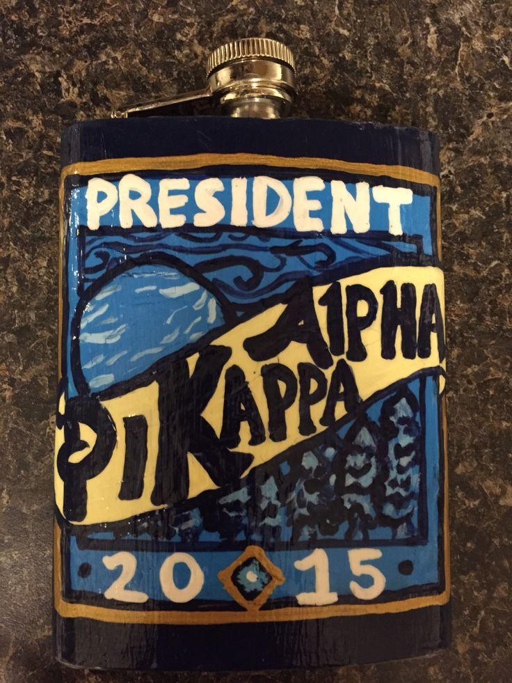 Pi kappa alpha president painted flask blue moon