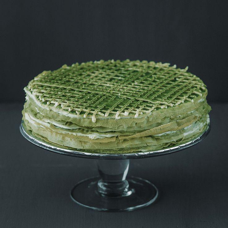 Green Tea & Green Bean Mille Crepe 9″