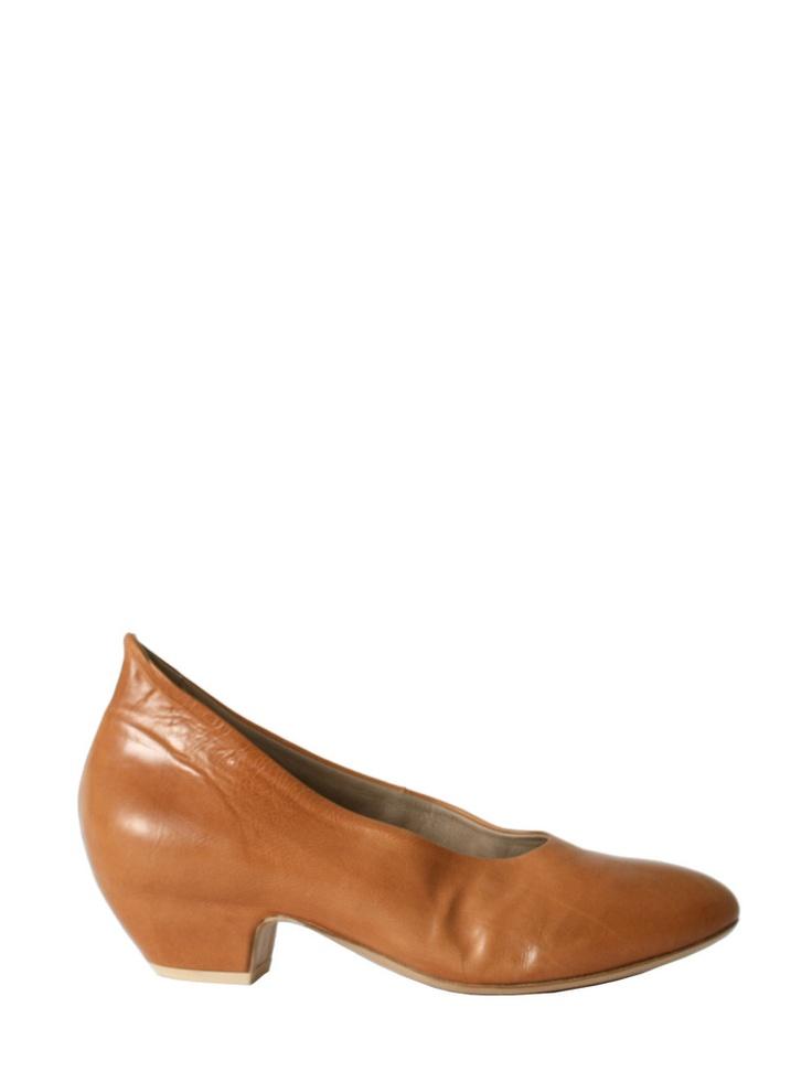 Tan leather pumps