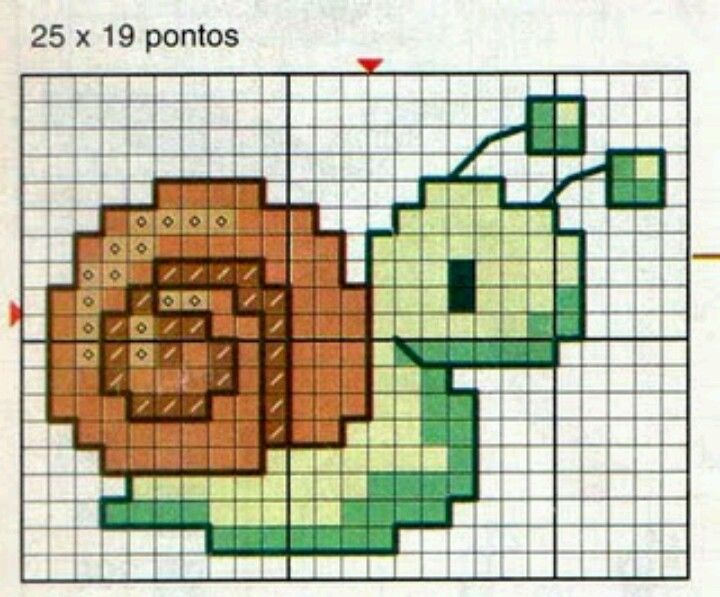Cute snail- cross stitch pattern - can be done with square or loom stitch.... #heartbeadwork #loombeading