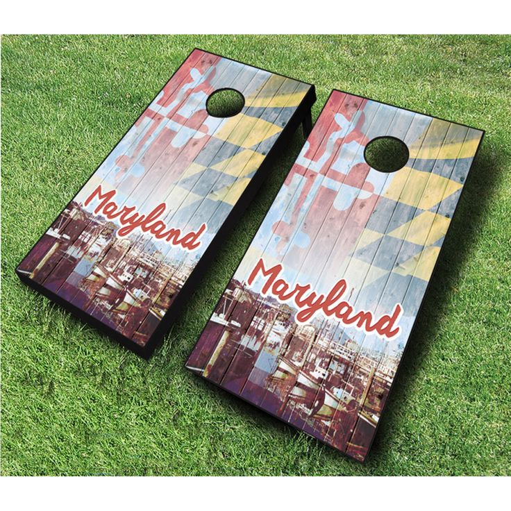 AJJ Cornhole Vintage Maryland Cornhole Set - 107-VINTAGE MARYLAND RED/ROYAL