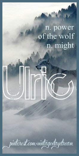 Baby Boy Name: Ulric. Meaning: Power of the Wolf; Might. Origin: Old English; Old German. https://www.pinterest.com/vintagedaydream/baby-names/