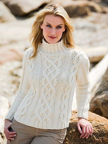 A Classic Cable Knit This stunner with intertwined cables is a welcome challenge for an experienced knitter. Melissa Leapman's design is stitched in Merinos Dodici from Trendsetter Yarns/Lane Borgosesia. If your budget can bear it, treat yourself to Kashmir, also from Trendsetter yarns. How to make this Cable Knit White Sweater