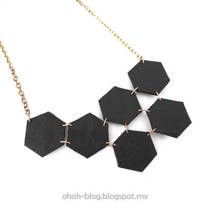 leather hexagon necklace