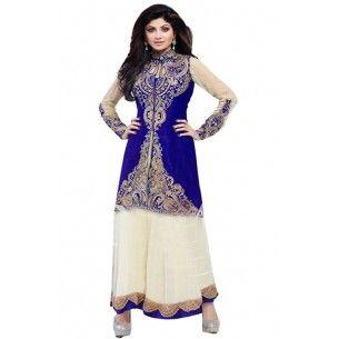 Shop Now - http://www.valehri.com/blue-white-anarkali-designer-shilpa-shetty-salwar-suit-1363 Price - 4,299 INR Rs