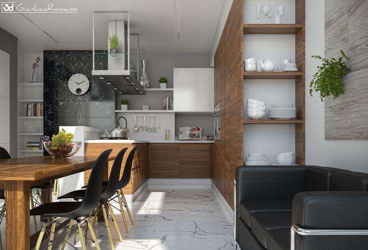 Render cucina moderna con penisola