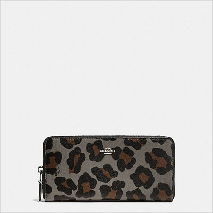 NWT Coach ACCORDION ZIP WALLET OCELOT PRINT Animal Leopard Print Grey   F53414 #Coach