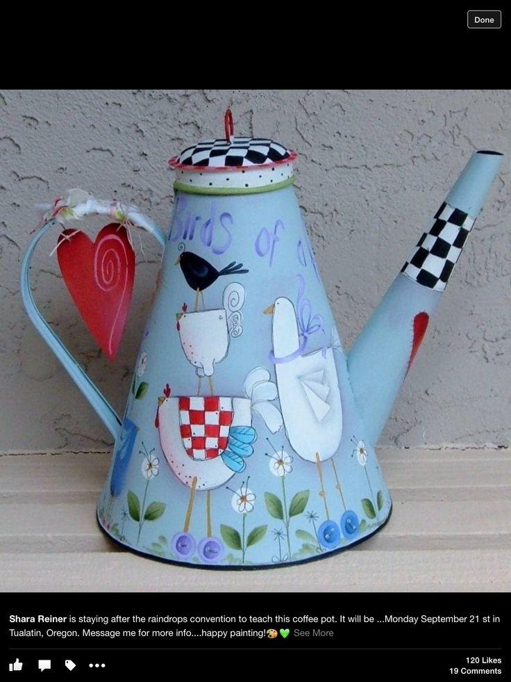 Folk art painted tin