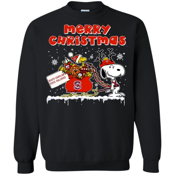 South Carolina State Bulldogs Ugly Christmas Sweaters Snoopy Sleigh Merry Christmas Hoodies Sweatshirts