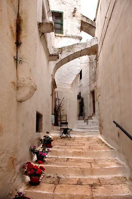 The alleys and narrow streets of the white city of Ostuni, Puglia (South Italy)