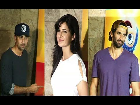 Ranbir Kapoor, Katrina Kaif, Aditya Roy Kapoor spotted at english movie INSIDE OUT screening. See the full video at : https://youtu.be/uJrbgJFpl0o