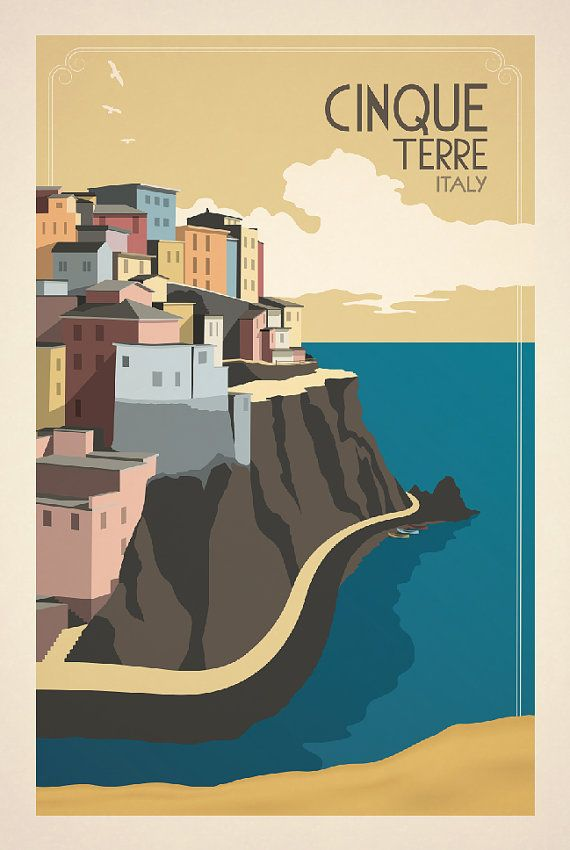 Vintage Italian Posters ~ #illustrator #Italian #posters ~ Cinque Terre inspired by vintage travel prints by TravelPosters, $50.00
