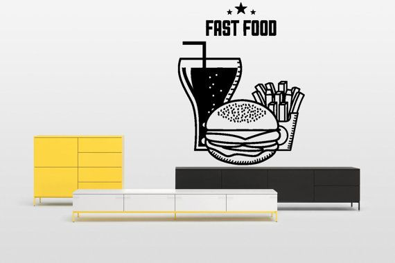 Removable Wall Decor Vinyl Sticker Mural Decal Window Showcase Logo Cafe Restaurant Fast Food Burgers French Fries Cola Hot Dog F1659